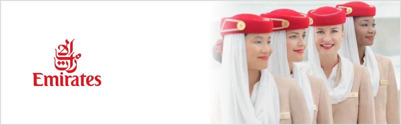 Emirates cabin crew with logo
