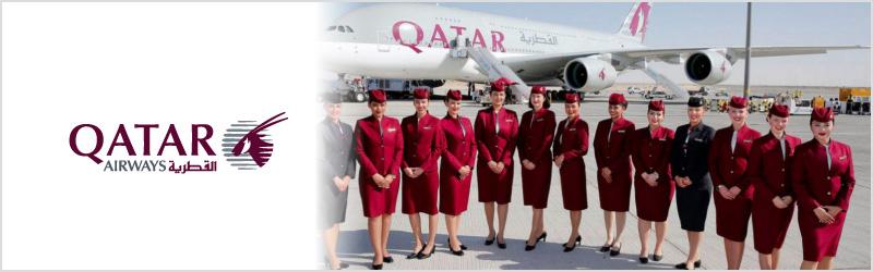 Qatar Airways cabin crew and logo